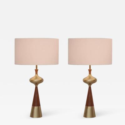 Tony Paul Set of Two Table Lamps in Walnut and Brass by Tony Paul for Westwood 1950s