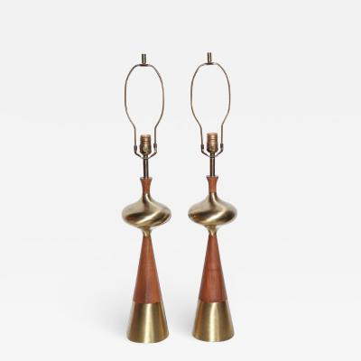 Tony Paul Tall Pair of Tony Paul for Westwood Sculpted Walnut Brass Bottle Table Lamps