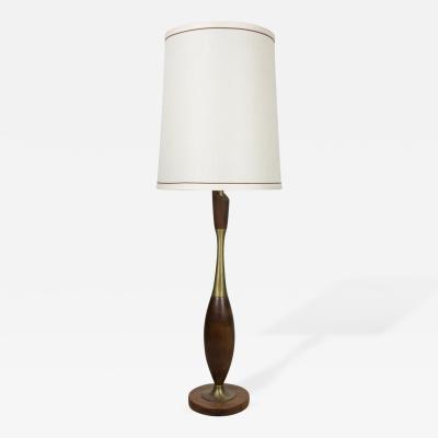 Tony Paul Tony Paul Brass and Walnut Table Lamp