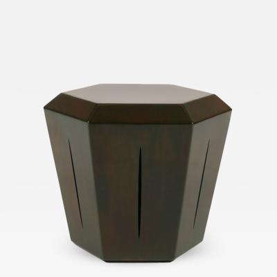 Topher Gent Hedra 14s Steel Accent Table in Brown Green Patina by Topher Gent