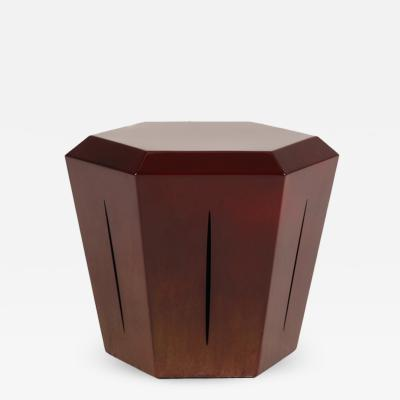 Topher Gent Hedra 14s Steel Accent Table in Deep Red Patina by Topher Gent