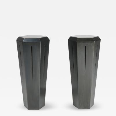 Topher Gent Pair of Hedra 14T Geometric Pedestal Tables in Blackened Steel