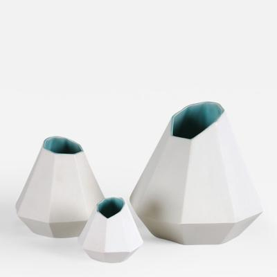 Topher Gent Porcelain Collection Set of Three Geometric Porcelain Vases by Topher Gent