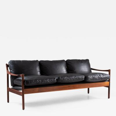 Torbjorn Afdal Midcentury Scandinavian Sofa in Leather and Rosewood by Torbj rn Afdal