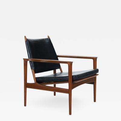 Torbjorn Afdal Rare Broadway Teak Leather Armchair Designed by Torbjorn Afdahl