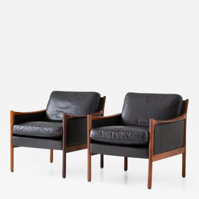 Torbjorn Afdal Scandinavian Midcentury Leather and Rosewood Lounge Chairs by Torbj rn Afdal