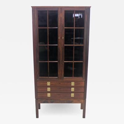 Torbjorn Afdal Scandinavian Modern Lighted Rosewood Display Cabinet Designed by Torbjorn Afdal