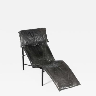 Tord Bjorklund Chaise Longue in Black Leather Sweden 1970s