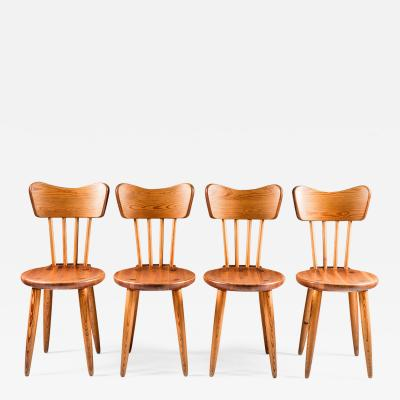 Torsten Claesson Set of Four Swedish Chairs in Pine by Torsten Claeson 1930s