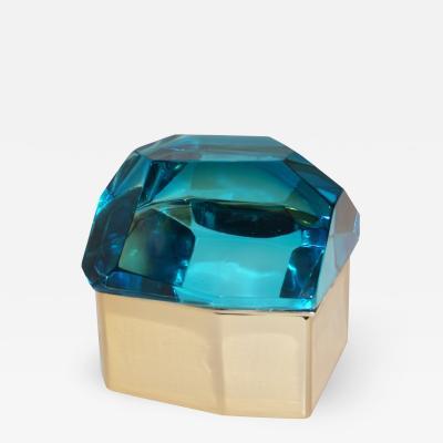 Toso Vetri D arte Diamond Shaped Turquoise Murano Glass Brass Jewel Like Box