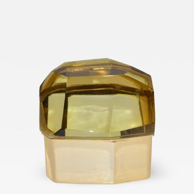 Toso Vetri D arte Toso Italian Modern Diamond Shaped Gold Murano Glass and Brass Jewel Like Box