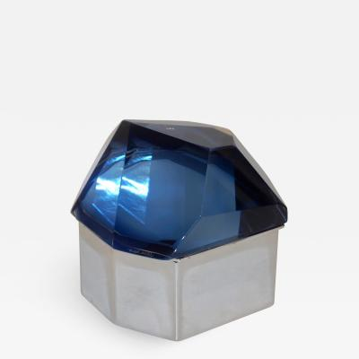 Toso Vetri D arte Toso Italian Modern Diamond Shaped Murano Glass Blue and Nickel Jewel Like Box