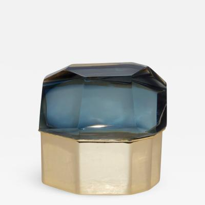 Toso Vetri D arte Toso Italian Modern Diamond Shaped Smoked Murano Glass Brass Jewel Like Box