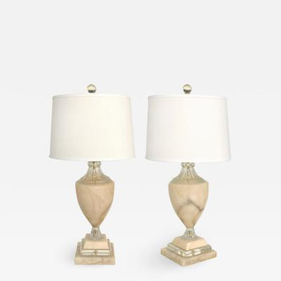 Traditional Alabaster Urn Form Table Lamps with Glass and Crystal Accents Pair