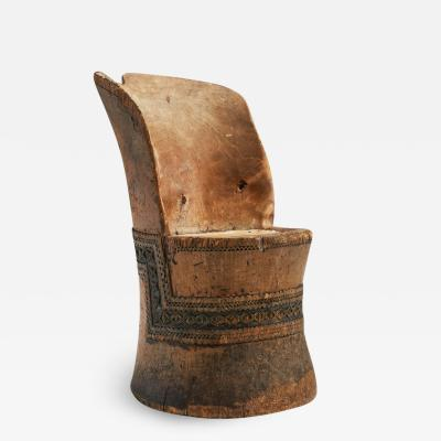 Traditional Carved Norwegian Kubbestol Norway 1800s