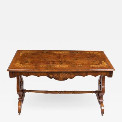 Traditional English Marquetry Center Table Early 19th Century