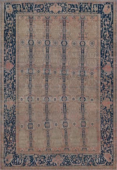 Traditional Handwoven Wool Persian Kashan Mohtasham Rug