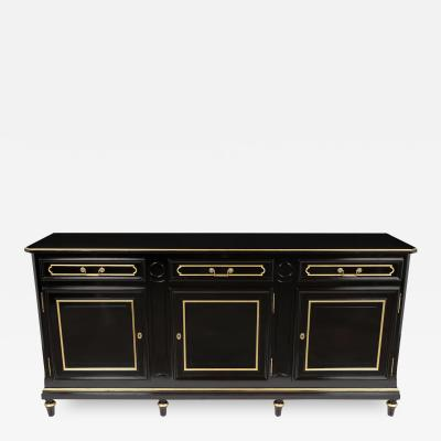 Traditional Louis XVI Style French Ebonized Finish Buffet