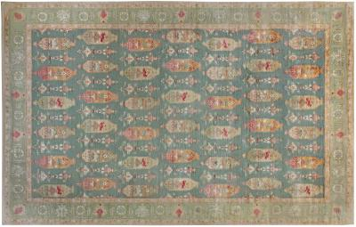 Traditional Oushak Design Blue Green Orange and Red Knotted Rug