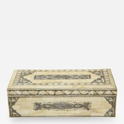 Traditional Pen Ink Decorated Bone Box