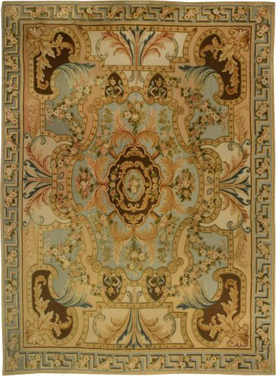 Traditional Savonnerie Inspired Hig Low Rug