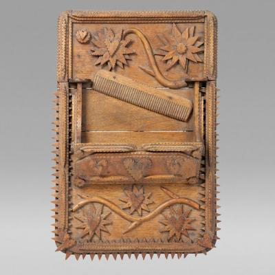 Tramp Art Comb Case Late 19th early 20th century