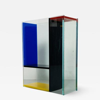 Transparent and colored plexiglass vase by PO 1980s