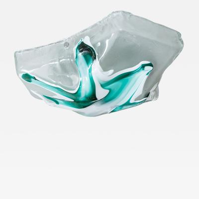 Trapezoidal Murano glass flush mount ceiling fixture