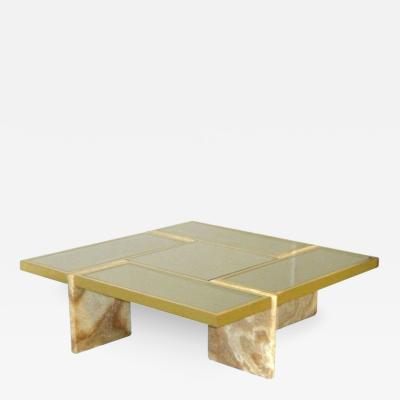 Travertine Base Brass and Mirrored Glass Cocktail Table