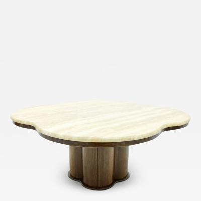 Travertine Cloud Coffee Table with a Wood Base