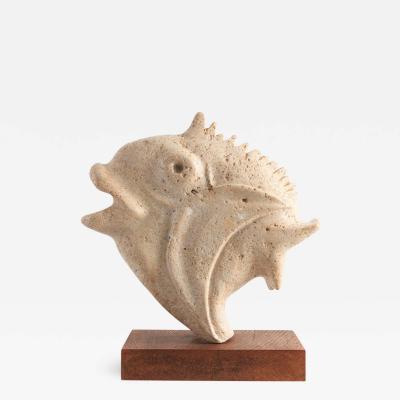 Travertine Moonfish Sculpture 1970s