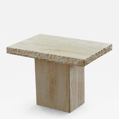 Travertine Side Table with Sculpted Rough Edges and Polished Top Surface