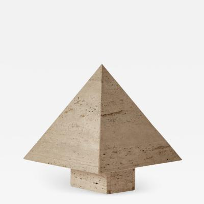 Travertine pyramid table lamp France c1970