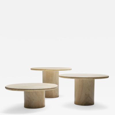 Travertine set of round side tables 1970s