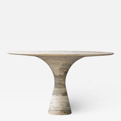 Travertino Silver Refined Contemporary Marble Dining Table