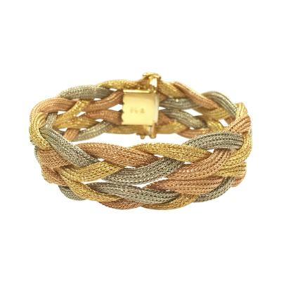 Tri Color 18k Braided Bracelet
