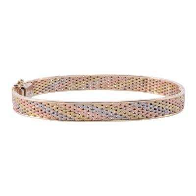 Tri Color Gold Hinged Bangle Bracelet