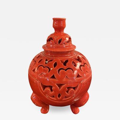Tri Pod Leg Fire Engine Red Lidded Urn