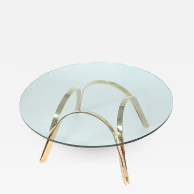 TriMark Roger Sprunger Style Brass and Glass Coffee Table by Tri Mark