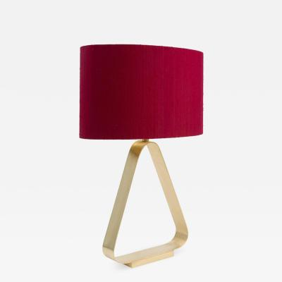 Triangular Brass Table Lamp with Red Linen Lampshade