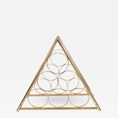 Triangular Brass Wine Rack