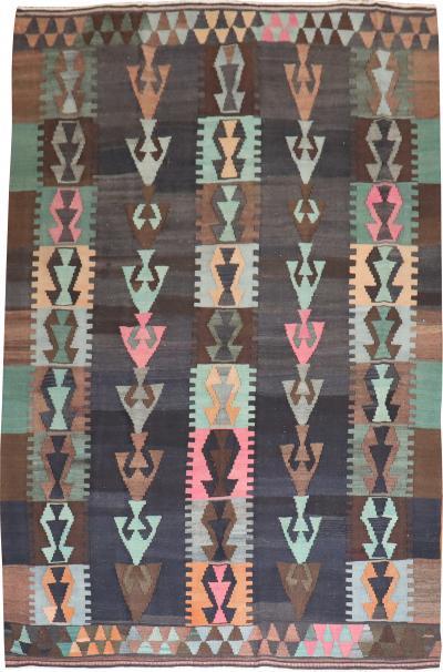 Tribal Bohemian Vintage Turkish Kilim Flat Weave rug no r5275