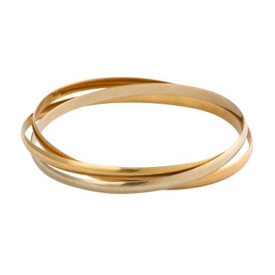 Tricolor18 k Gold Rolling French Bangles