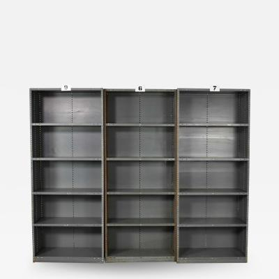 Trio of industrial steel bookcase shelving painted gray green great patina