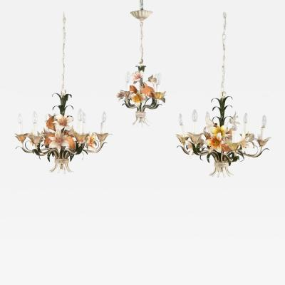 Trio vintage tole painted floral chandeliers 2 with 6 lights 1 with 3 lights