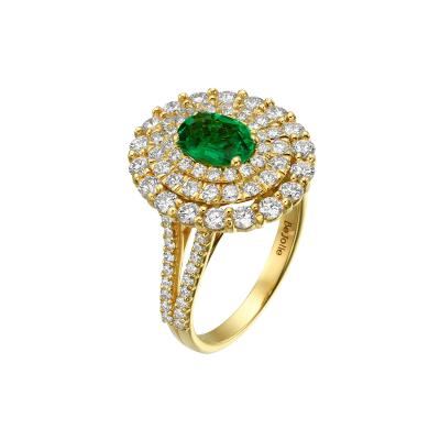 Triple Halo 0 80 Carat Natural Emerald Ring