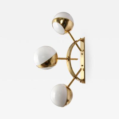 Triple Orb Brass Opal Glass Wall Lights in the Style of Stilnovo