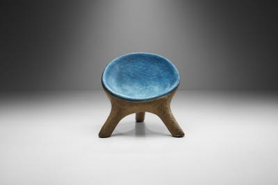 Tripod Chair in Blue and Gray Resin France 1970s