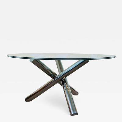 Tripod Dining Table with Crackled Glass Top