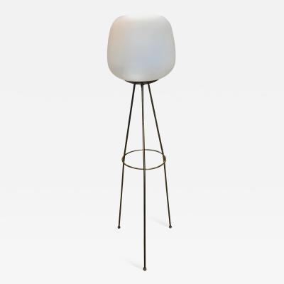 Tripod Floor Lamp in Brass and Opaline Glass Italy 1960s